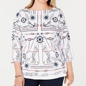 Charter Club Nautical-Print Top 3/4 Sleeve Size 1X